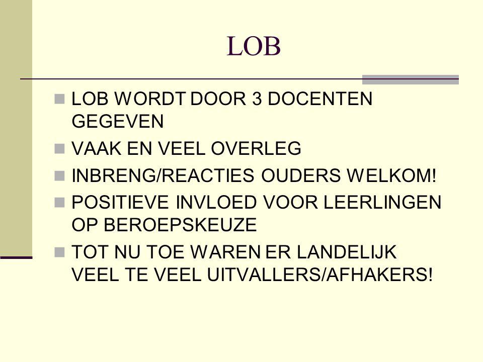LOB LOB WORDT DOOR 3 DOCENTEN GEGEVEN VAAK EN VEEL OVERLEG