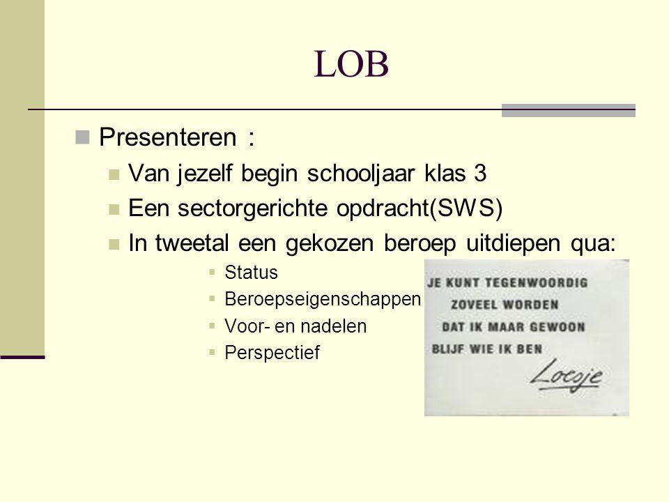 LOB Presenteren : Van jezelf begin schooljaar klas 3