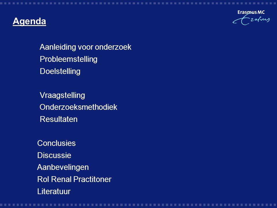 Agenda Aanleiding voor onderzoek Probleemstelling Doelstelling
