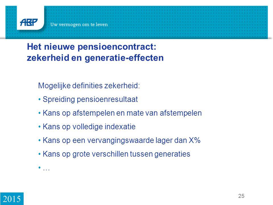 Het nieuwe pensioencontract: zekerheid en generatie-effecten
