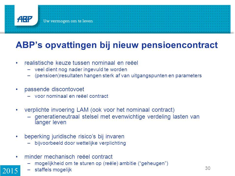 ABP's opvattingen bij nieuw pensioencontract