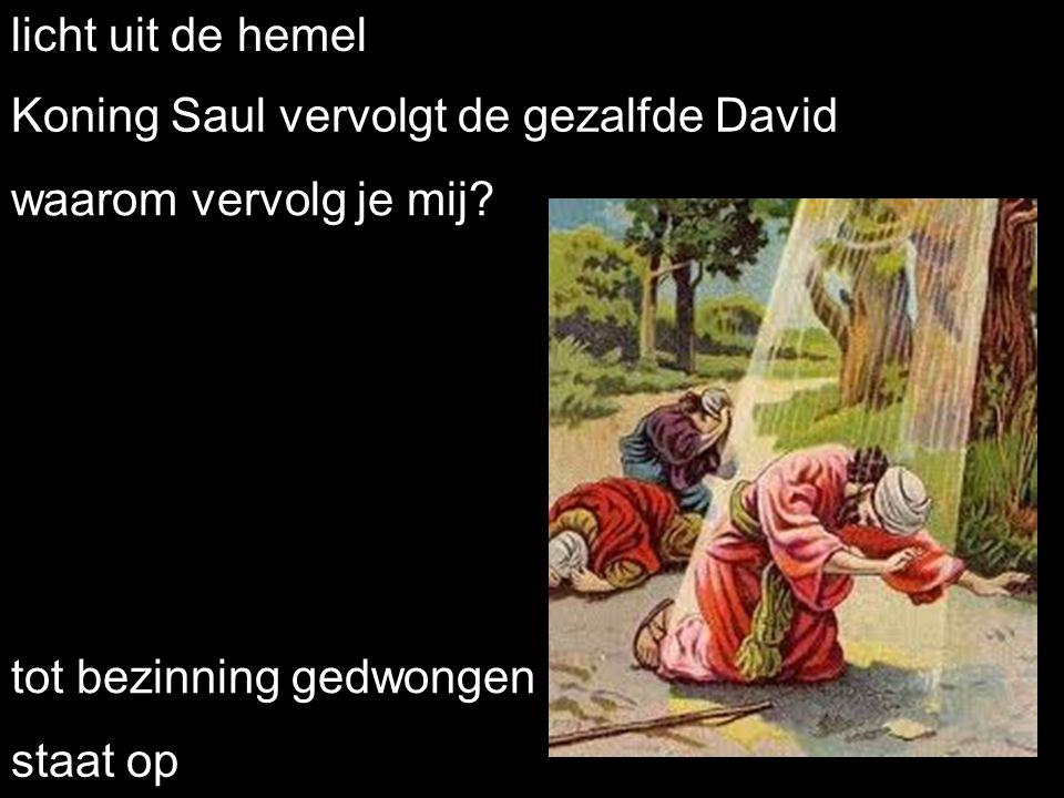 licht uit de hemel Koning Saul vervolgt de gezalfde David. waarom vervolg je mij tot bezinning gedwongen.