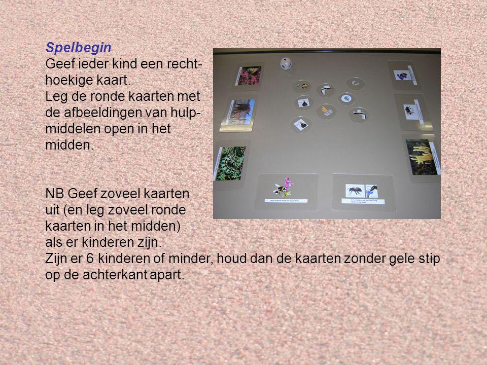 Spelbegin Geef ieder kind een recht- hoekige kaart. Leg de ronde kaarten met de afbeeldingen van hulp- middelen open in het midden.