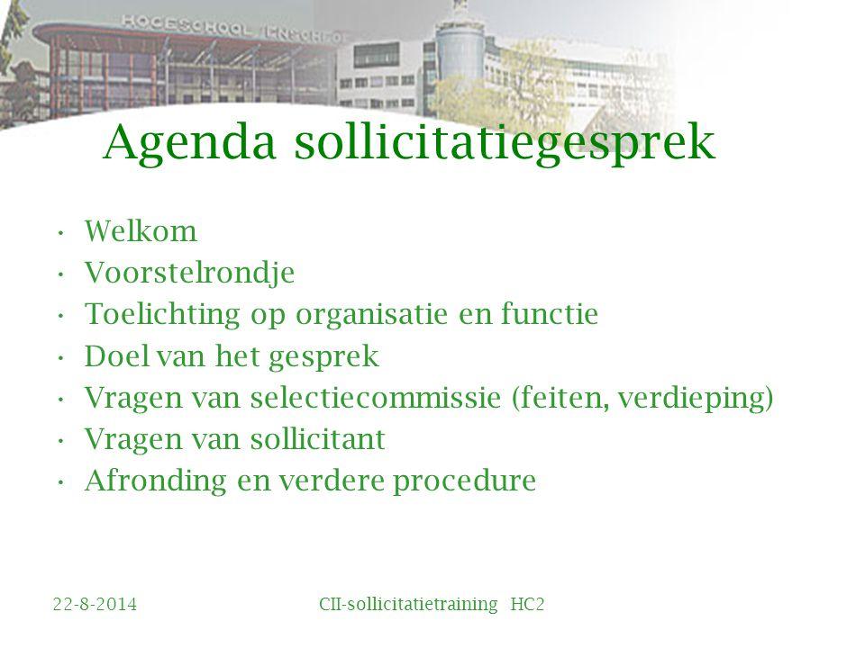 Agenda sollicitatiegesprek