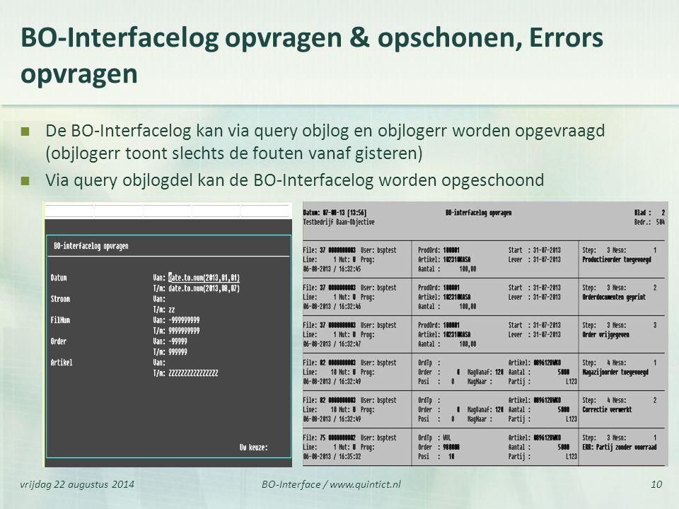BO-Interfacelog opvragen & opschonen, Errors opvragen