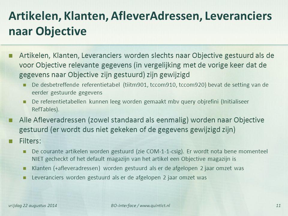 Artikelen, Klanten, AfleverAdressen, Leveranciers naar Objective