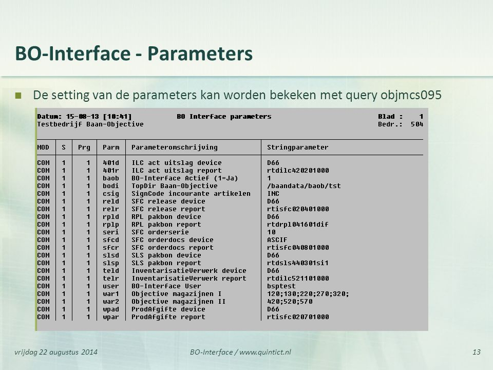 BO-Interface - Parameters