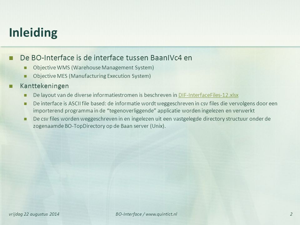 BO-Interface / www.quintict.nl