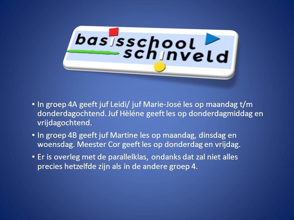 In groep 4A geeft juf Leidi/ juf Marie-José les op maandag t/m donderdagochtend. Juf Hèléne geeft les op donderdagmiddag en vrijdagochtend.