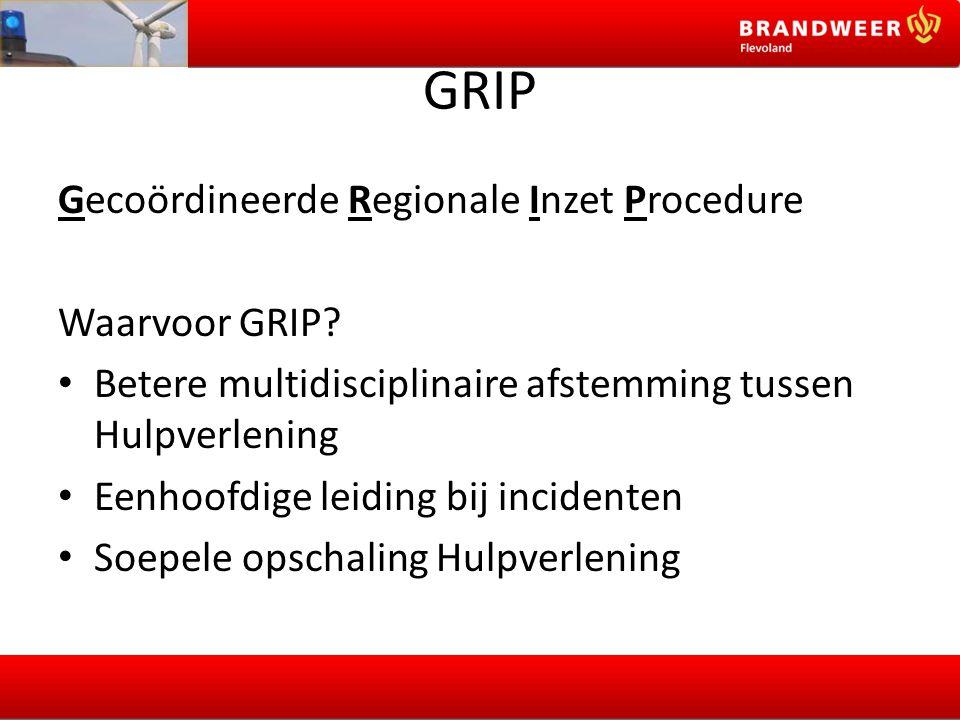 GRIP Gecoördineerde Regionale Inzet Procedure Waarvoor GRIP