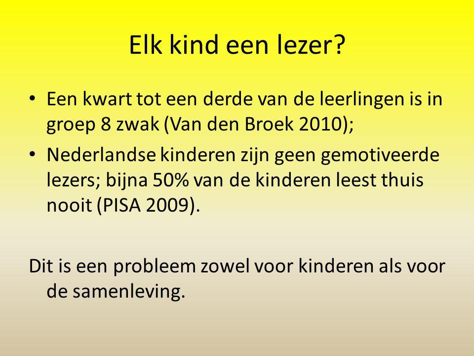 Elk kind een lezer Een kwart tot een derde van de leerlingen is in groep 8 zwak (Van den Broek 2010);