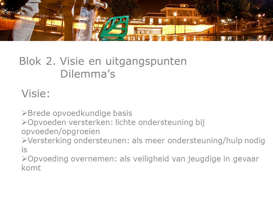 Blok 2. Visie en uitgangspunten Dilemma's