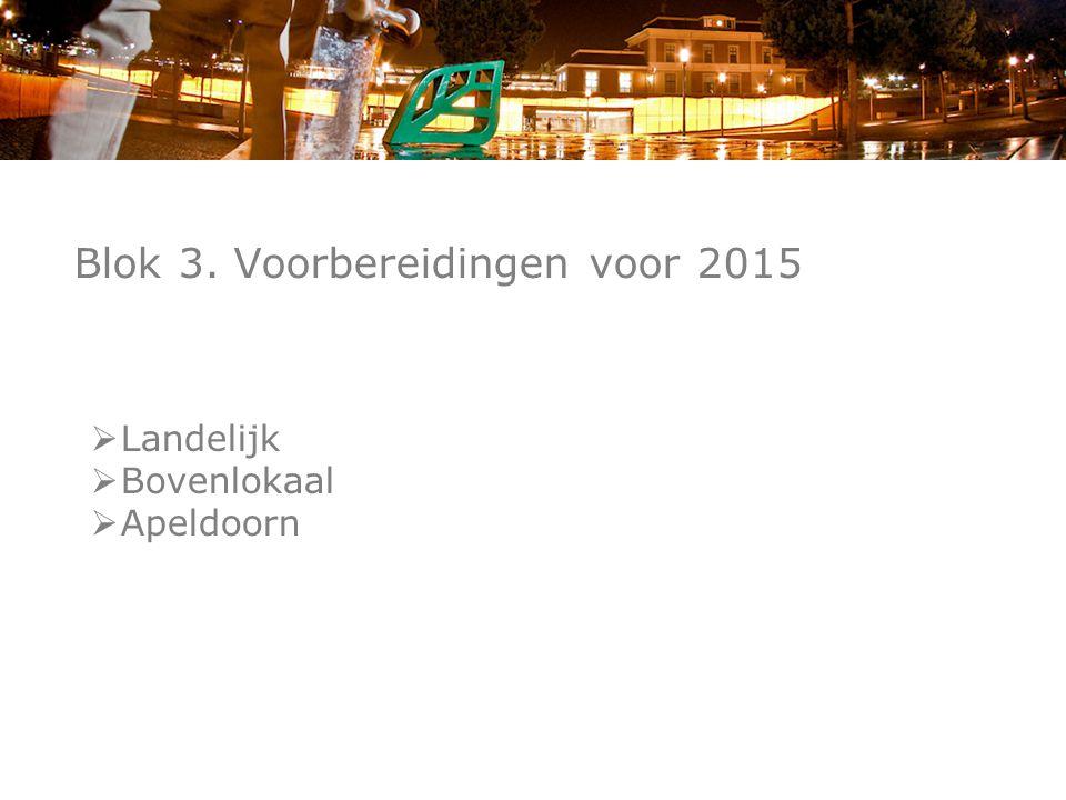 Blok 3. Voorbereidingen voor 2015