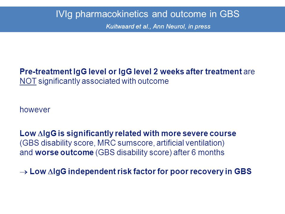 IVIg pharmacokinetics and outcome in GBS. Kuitwaard et al