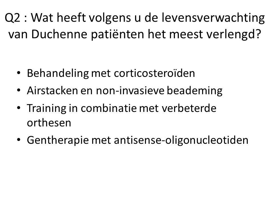 Q2 : Wat heeft volgens u de levensverwachting van Duchenne patiënten het meest verlengd