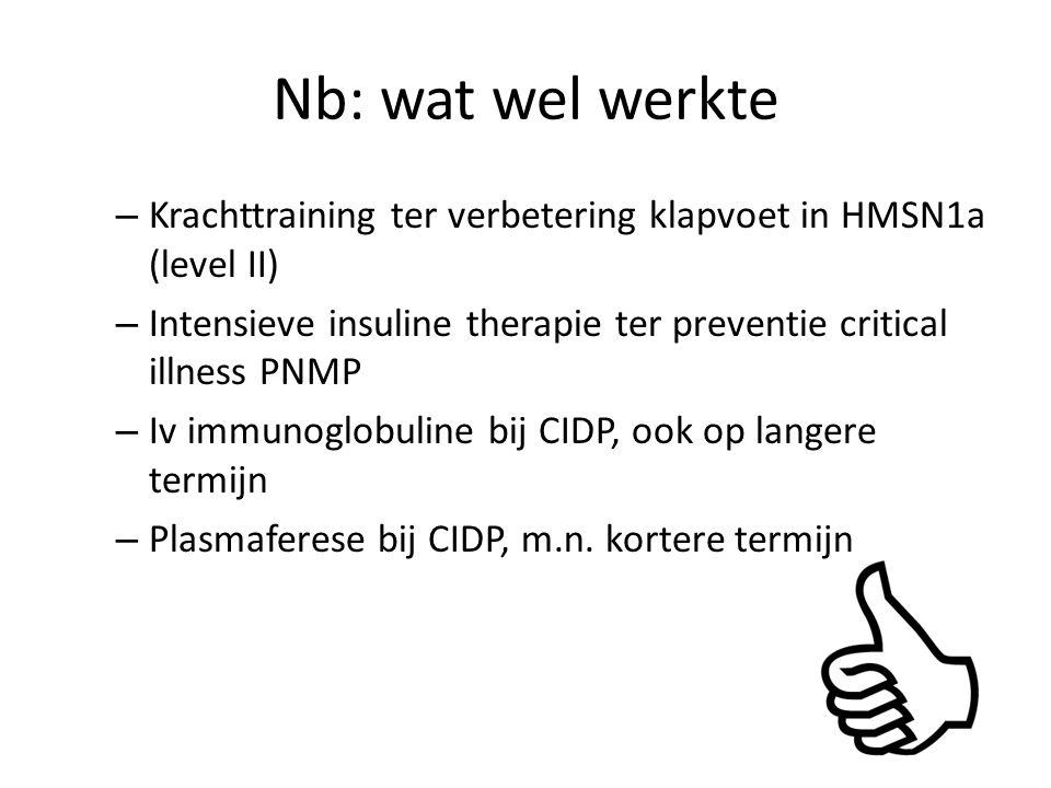 Nb: wat wel werkte Krachttraining ter verbetering klapvoet in HMSN1a (level II) Intensieve insuline therapie ter preventie critical illness PNMP.