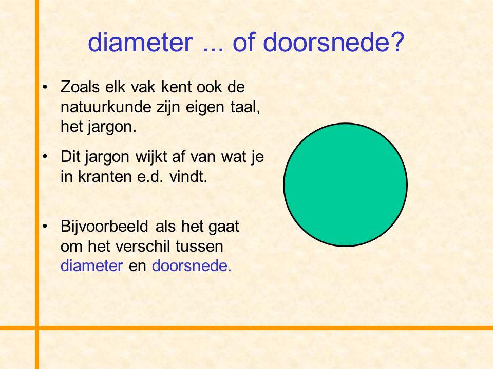 diameter ... of doorsnede Zoals elk vak kent ook de natuurkunde zijn eigen taal, het jargon. Dit jargon wijkt af van wat je in kranten e.d. vindt.