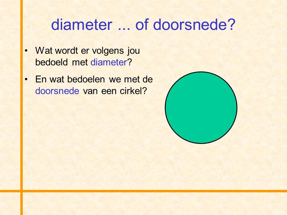 diameter ... of doorsnede. Wat wordt er volgens jou bedoeld met diameter.