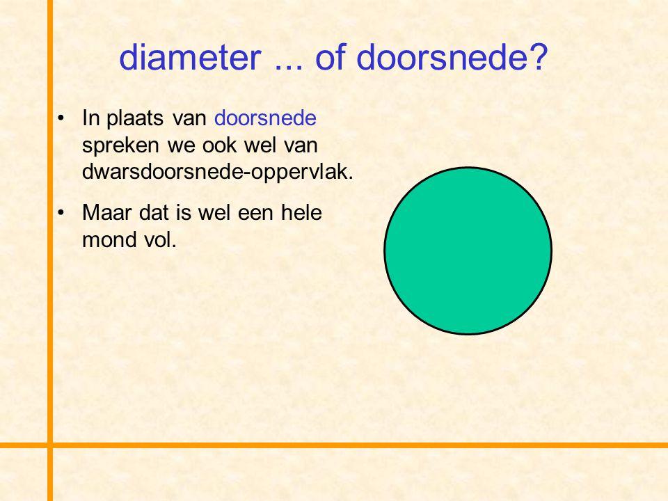 diameter ... of doorsnede In plaats van doorsnede spreken we ook wel van dwarsdoorsnede-oppervlak.