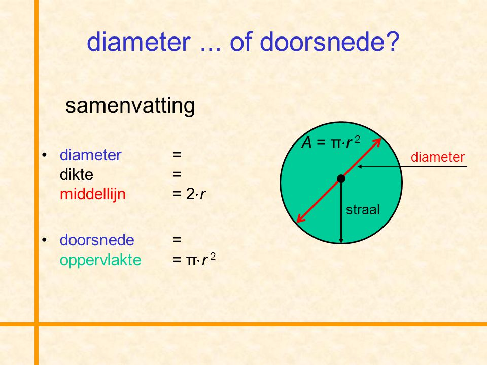 diameter ... of doorsnede samenvatting A = π· r 2