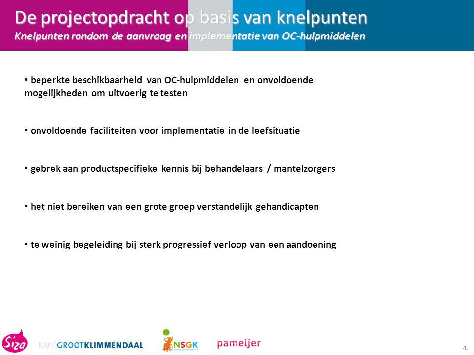 De projectopdracht op basis van knelpunten Knelpunten rondom de aanvraag en implementatie van OC-hulpmiddelen