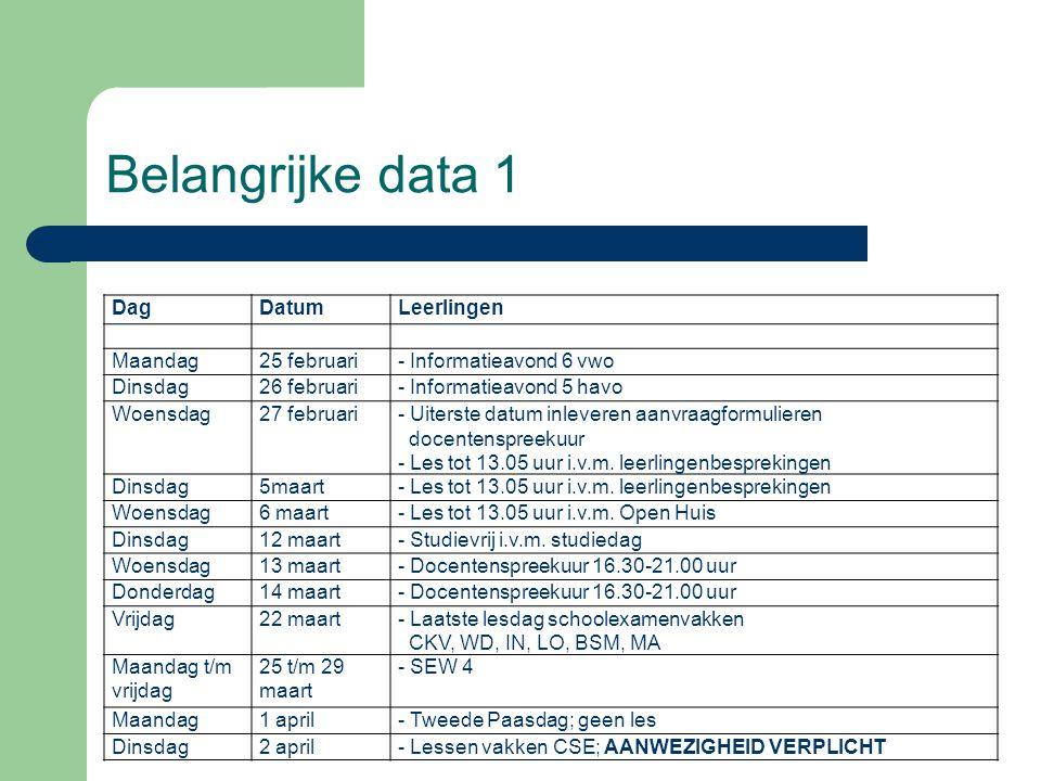 Belangrijke data 1 Dag Datum Leerlingen Maandag 25 februari