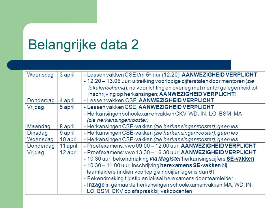 Belangrijke data 2 Woensdag 3 april