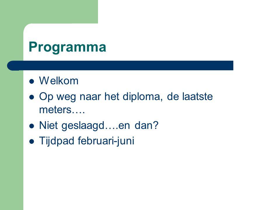 Programma Welkom Op weg naar het diploma, de laatste meters….