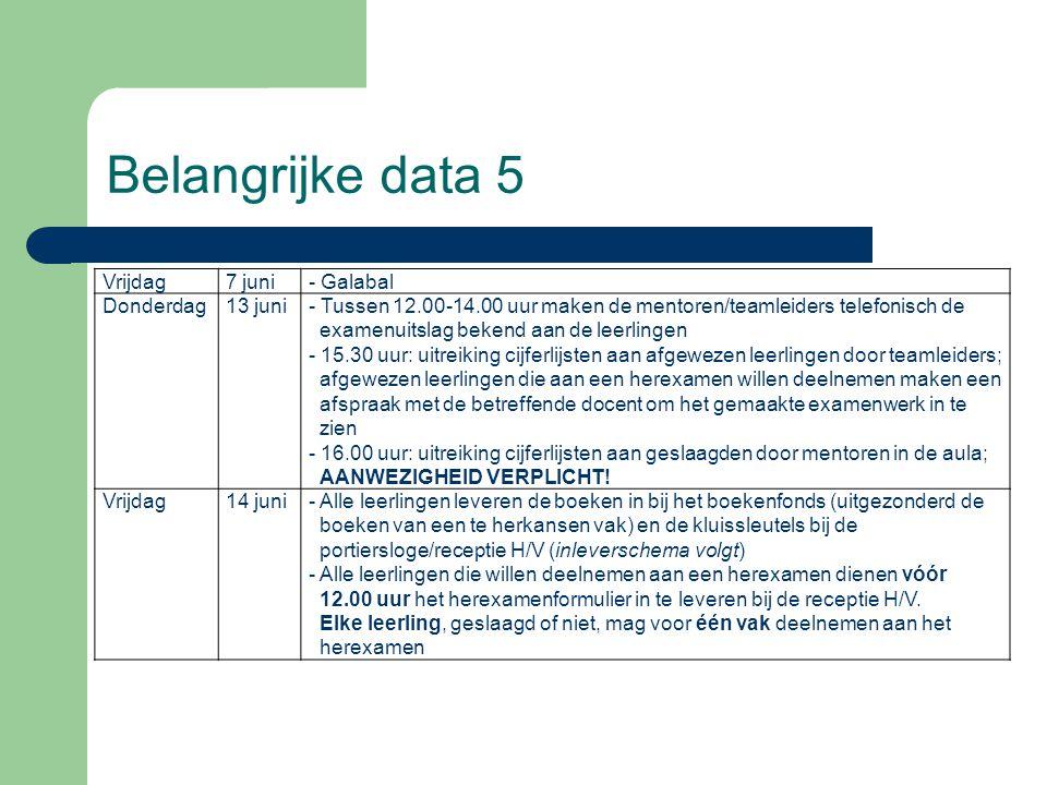 Belangrijke data 5 Vrijdag 7 juni - Galabal Donderdag 13 juni