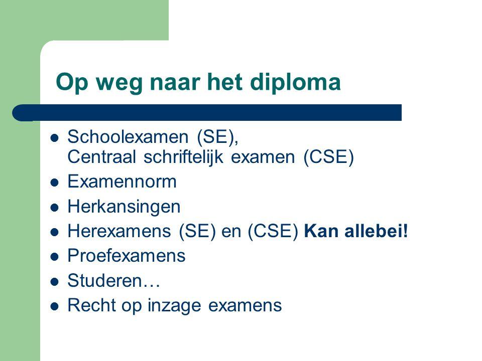 Op weg naar het diploma Schoolexamen (SE), Centraal schriftelijk examen (CSE) Examennorm. Herkansingen.