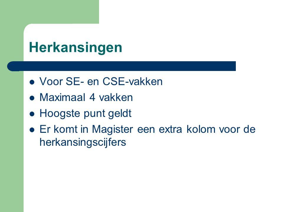 Herkansingen Voor SE- en CSE-vakken Maximaal 4 vakken