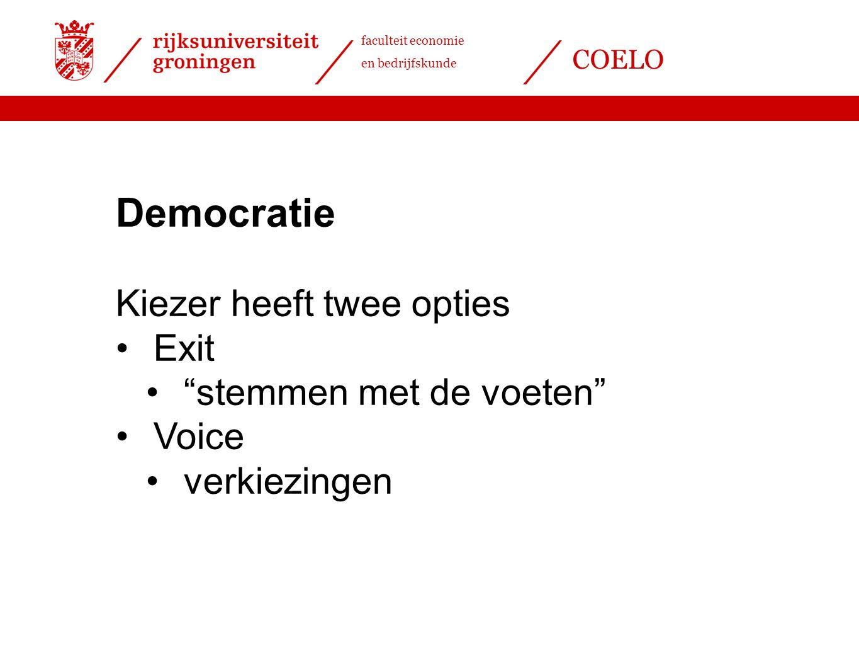 Democratie Kiezer heeft twee opties Exit stemmen met de voeten Voice
