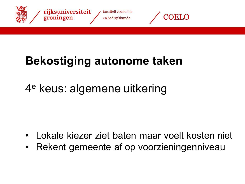 Bekostiging autonome taken 4e keus: algemene uitkering