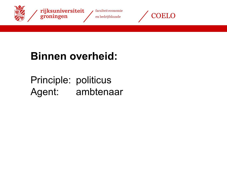 Binnen overheid: Principle: politicus Agent: ambtenaar
