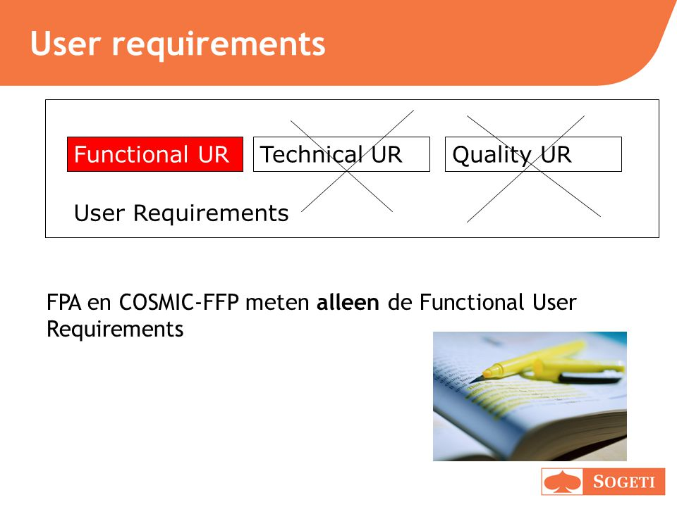 User requirements Functional UR Technical UR Quality UR