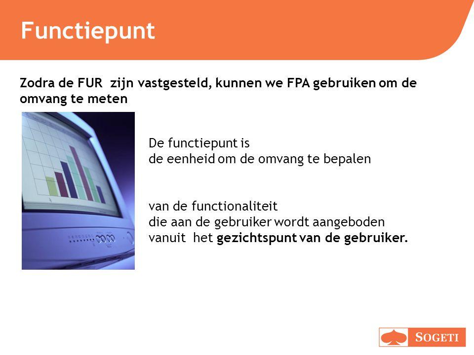 Functiepunt Zodra de FUR zijn vastgesteld, kunnen we FPA gebruiken om de omvang te meten. De functiepunt is de eenheid om de omvang te bepalen.