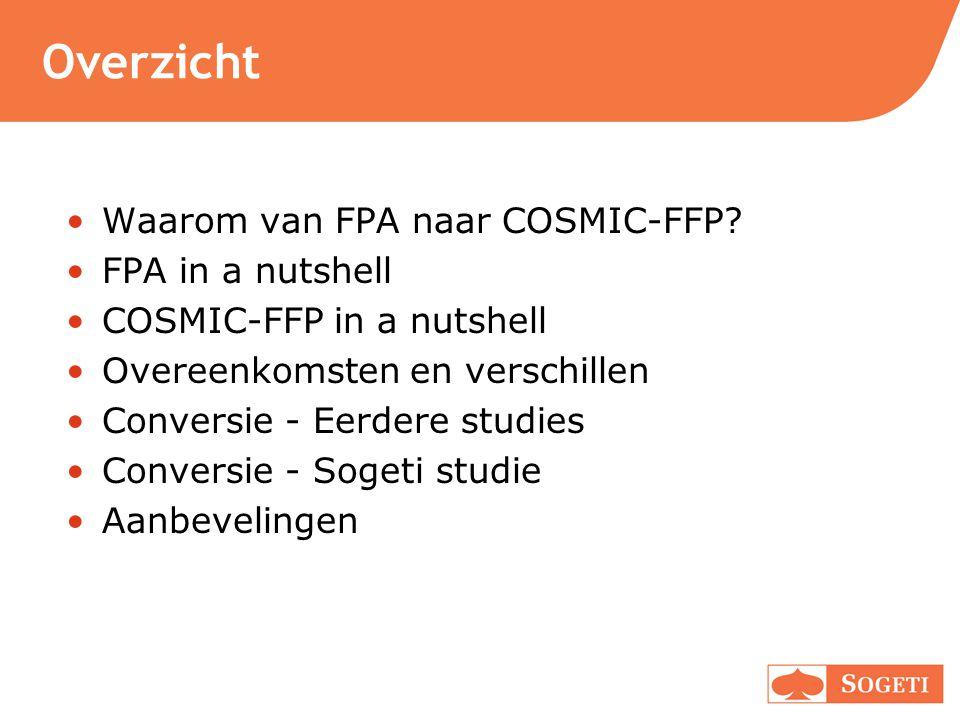 Overzicht Waarom van FPA naar COSMIC-FFP FPA in a nutshell