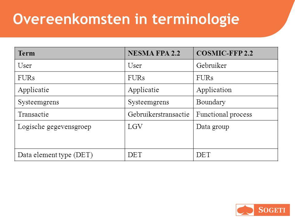 Overeenkomsten in terminologie