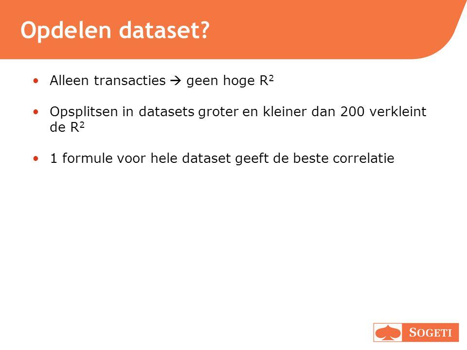 Opdelen dataset Alleen transacties  geen hoge R2