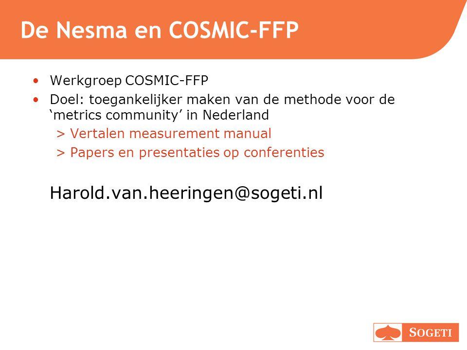 De Nesma en COSMIC-FFP Harold.van.heeringen@sogeti.nl