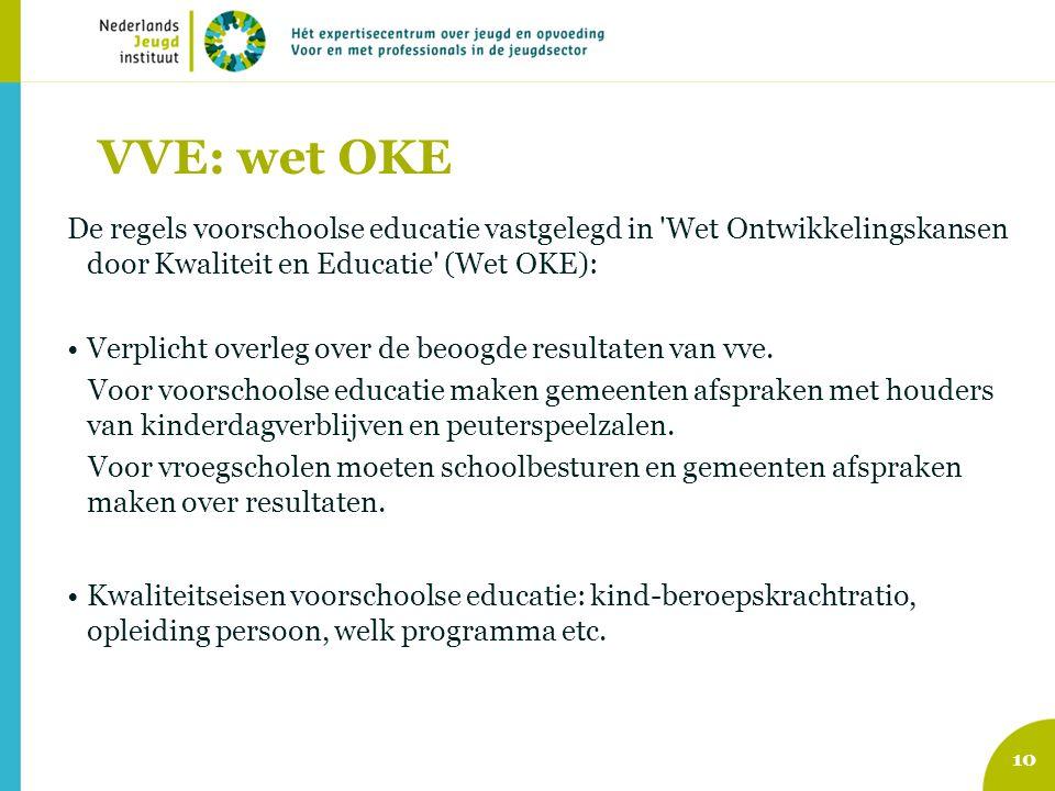 VVE: wet OKE De regels voorschoolse educatie vastgelegd in Wet Ontwikkelingskansen door Kwaliteit en Educatie (Wet OKE):