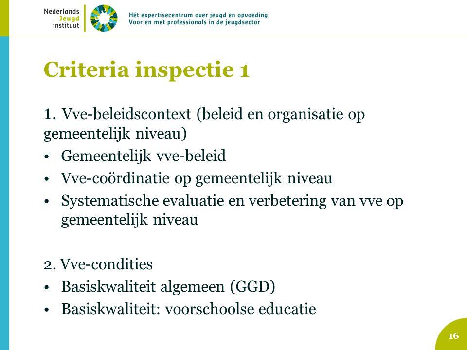 Criteria inspectie 1 1. Vve-beleidscontext (beleid en organisatie op gemeentelijk niveau) Gemeentelijk vve-beleid.