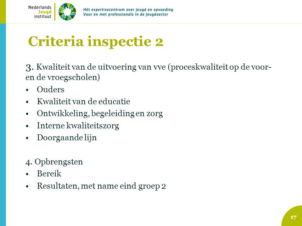 Criteria inspectie 2 3. Kwaliteit van de uitvoering van vve (proceskwaliteit op de voor- en de vroegscholen)
