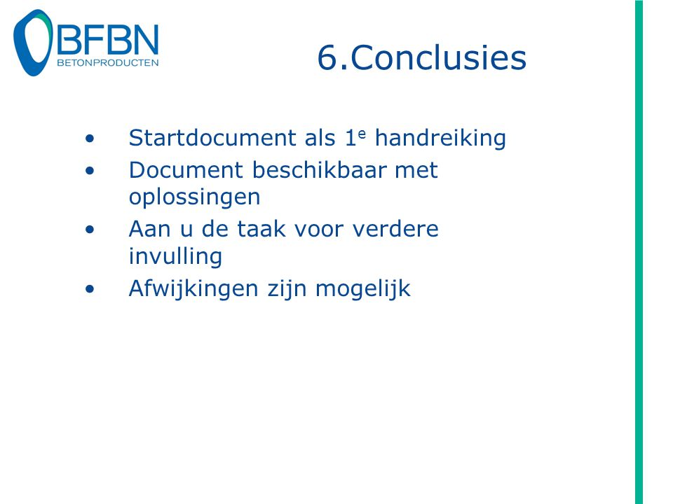 6.Conclusies Startdocument als 1e handreiking