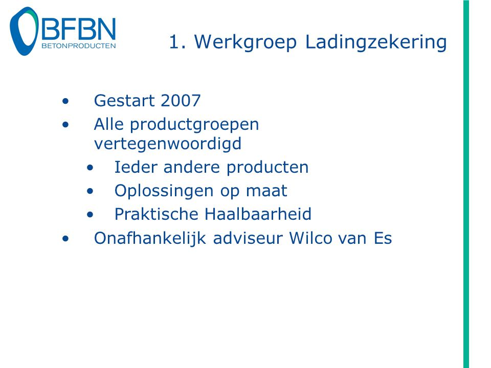 1. Werkgroep Ladingzekering