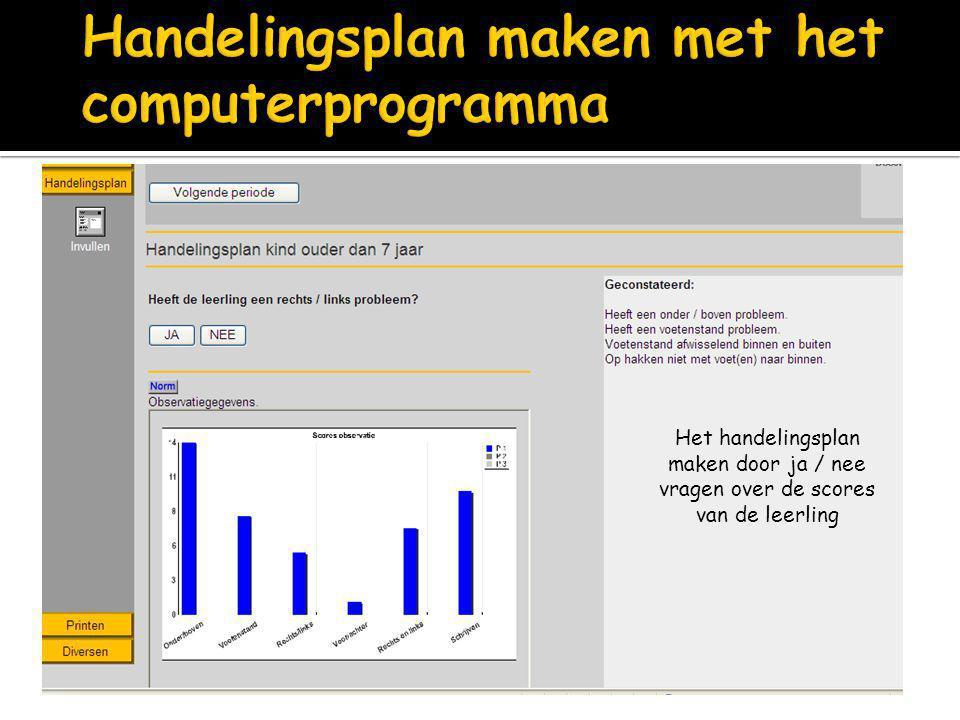 Handelingsplan maken met het computerprogramma