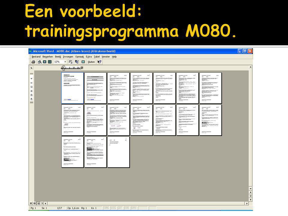 Een voorbeeld: trainingsprogramma M080.