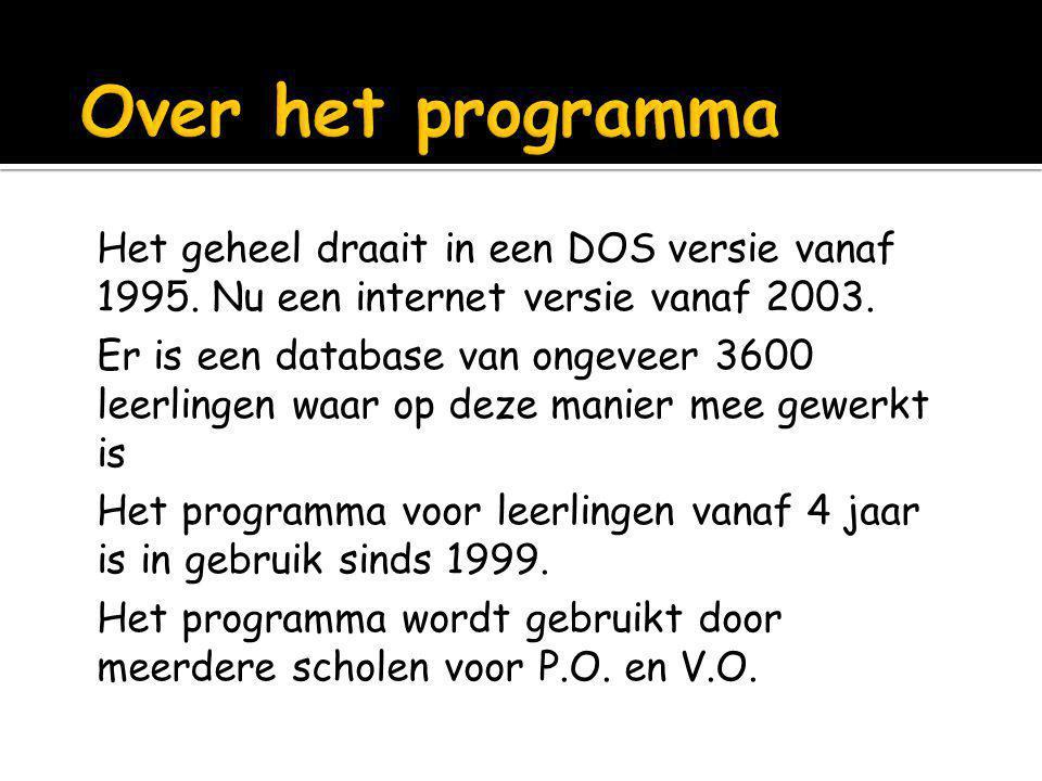 Over het programma Het geheel draait in een DOS versie vanaf 1995. Nu een internet versie vanaf 2003.