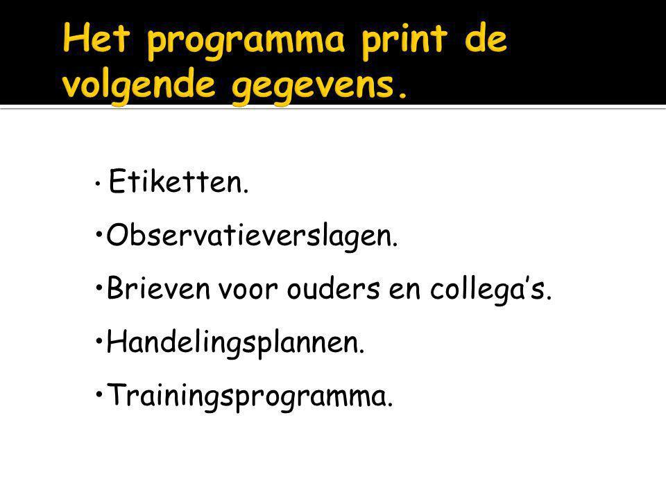Het programma print de volgende gegevens.