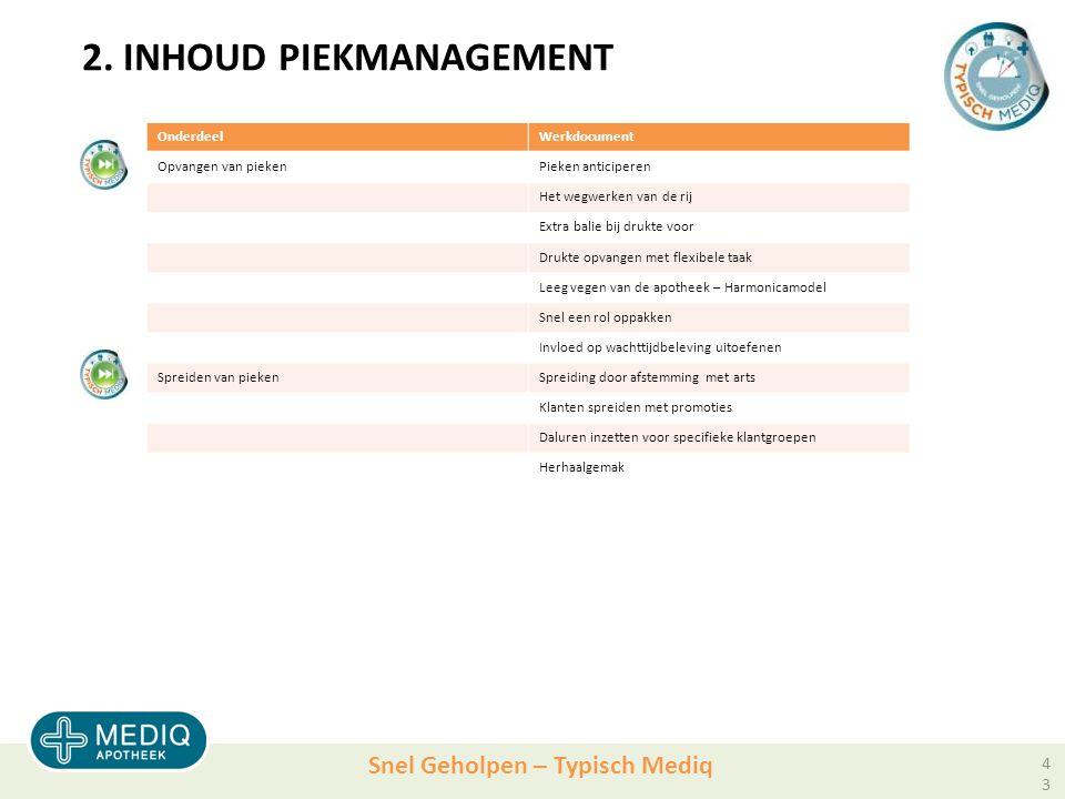 2. INHOUD Piekmanagement